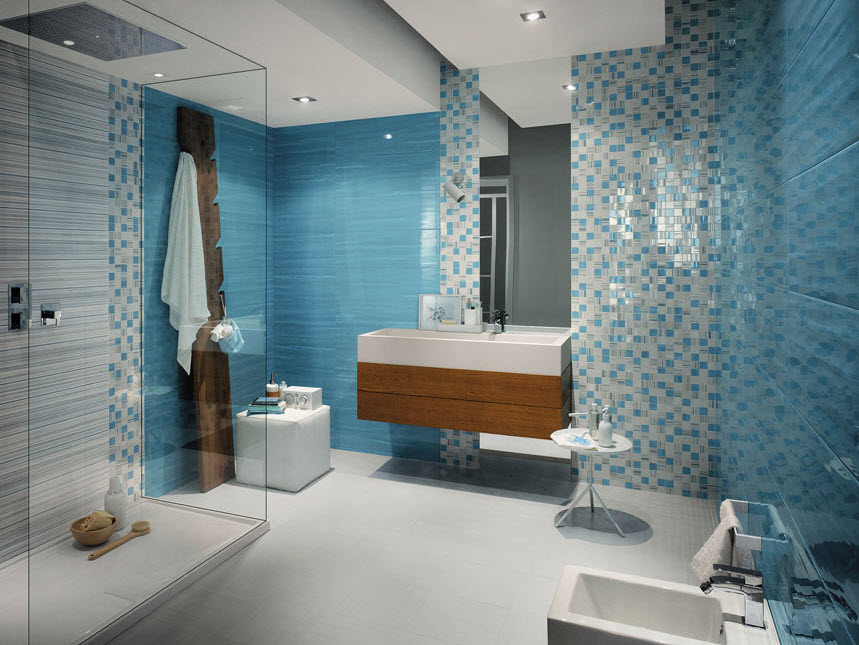 Baño Blanco Con Azul:Mosaic Tile Bathroom Ideas
