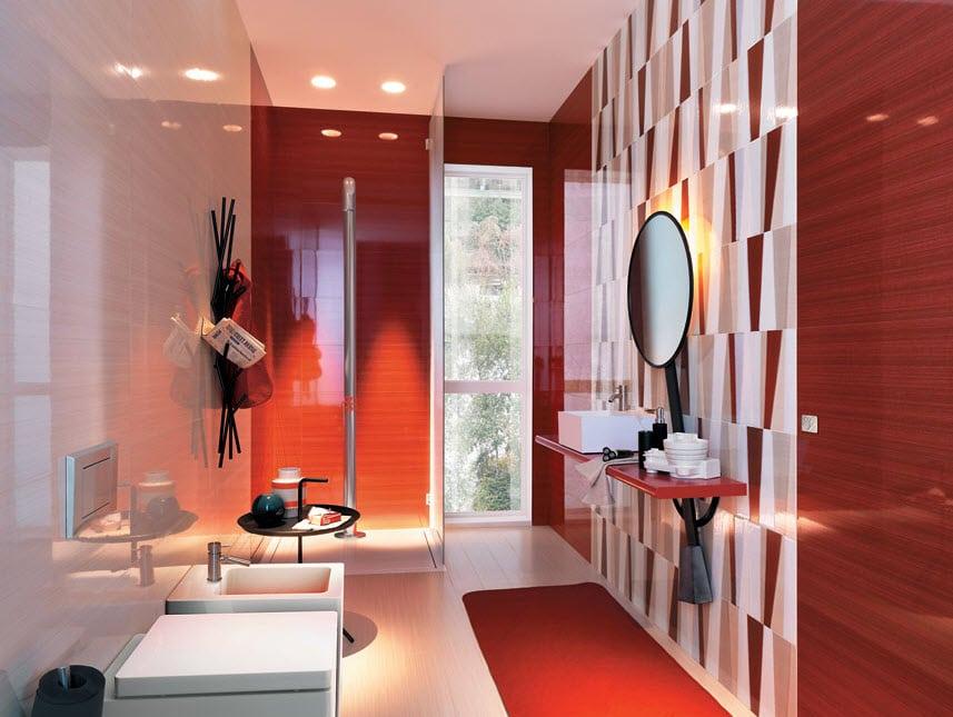 Baños Blanco Con Rojo:el espejo se le ha aplicado cerámica con diseño textil que junto con