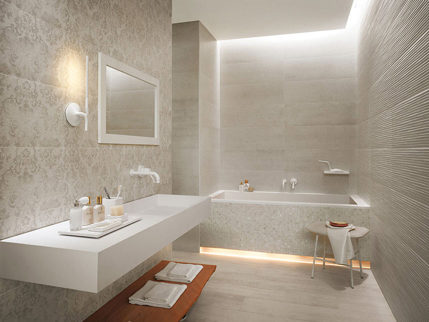 Cuartos De Baño En Beige:Patterned Bathroom Tiles