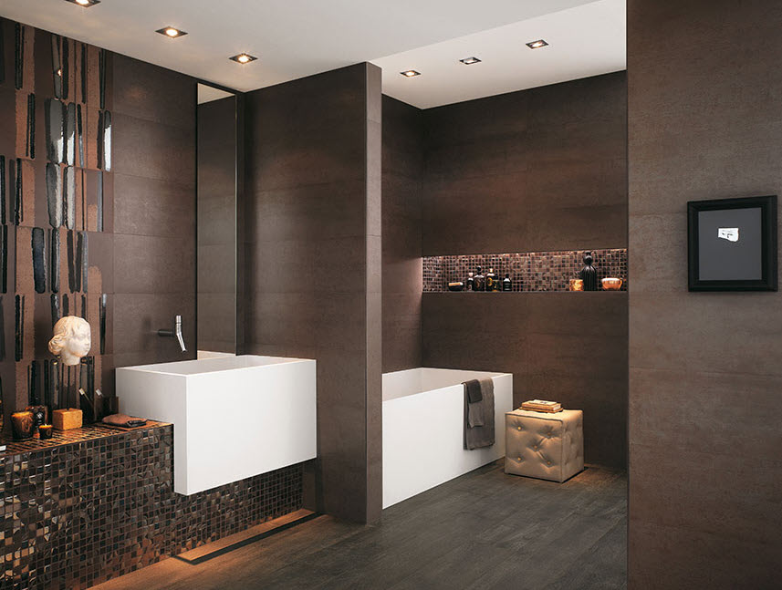 Baños Minimalistas Color Chocolate:Bathroom Tile Ideas