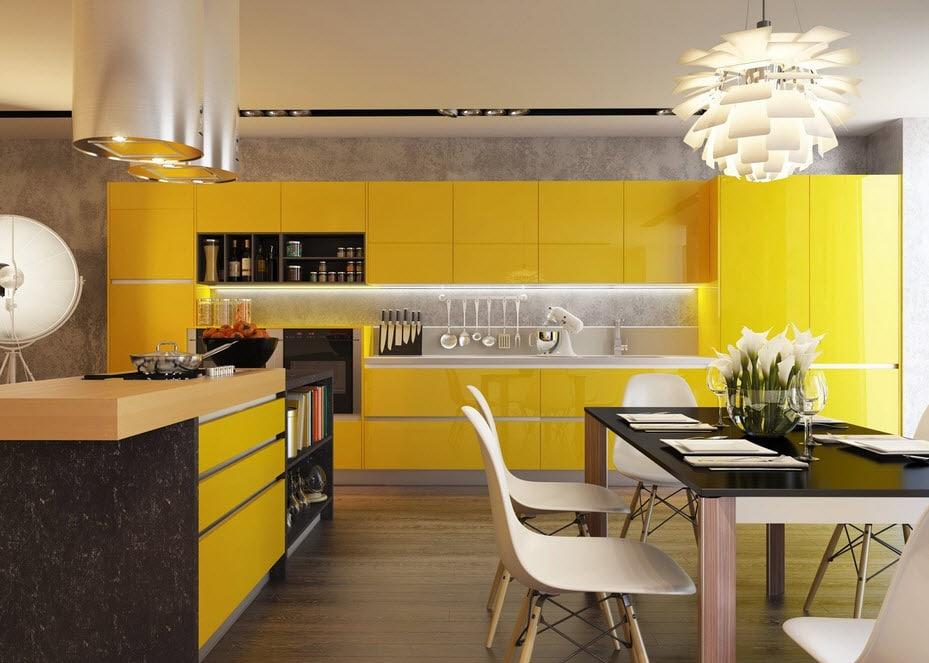 Cocina moderna de color amarillo con negro