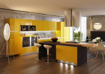Cocina color amarillo con negro y pisos de madera