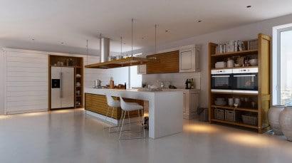 Cocina con contraste blanco y madera