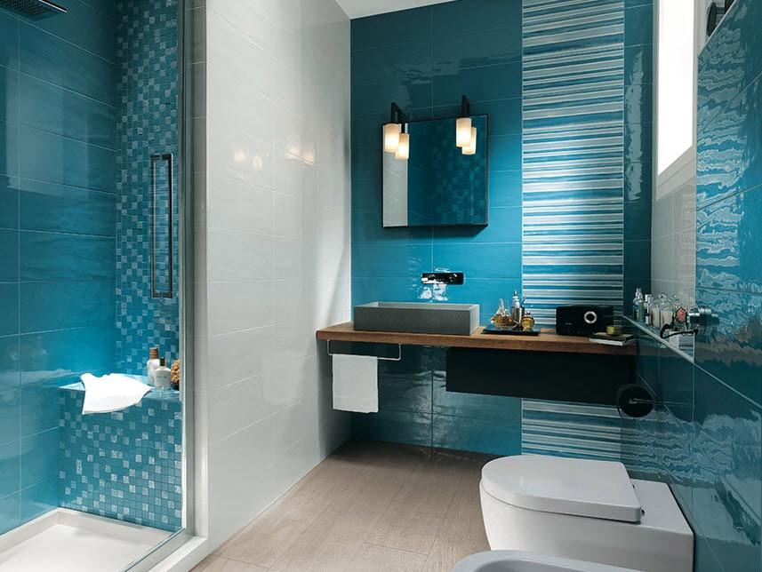 "Baño Pintado De Verde:Un ""refrescante"" diseño de cuarto de baño color azul"