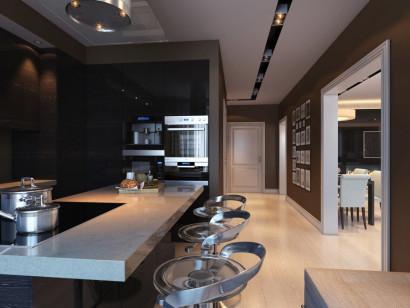 Diseño de cocina azulejos negros y encimera granito claro