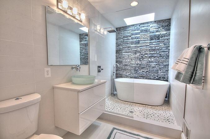 Baños Gris Con Blanco:Diseño de cuarto de baño pequeños y medianos