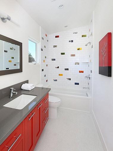diseo de moderno cuarto de bao blanco gris y rojo