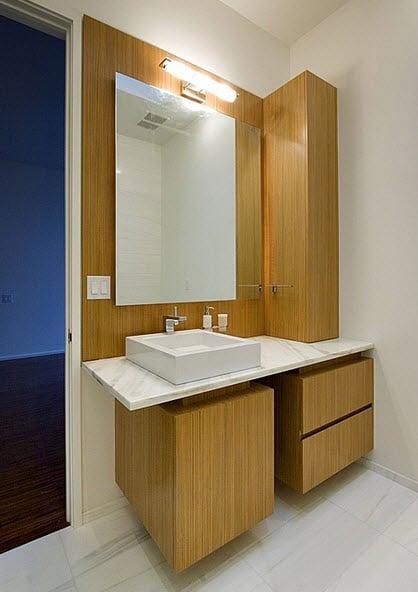 Baños Diseno Blancos:Diseño de lavatorio de cuarto de baño blanco y madera en la base