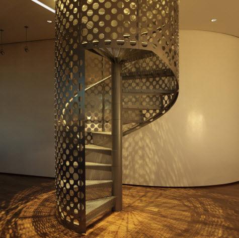 diseo de escalera en espiral de metal perforado