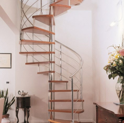 diseo de escalera en espiral cromada with escaleras de caracol interiores