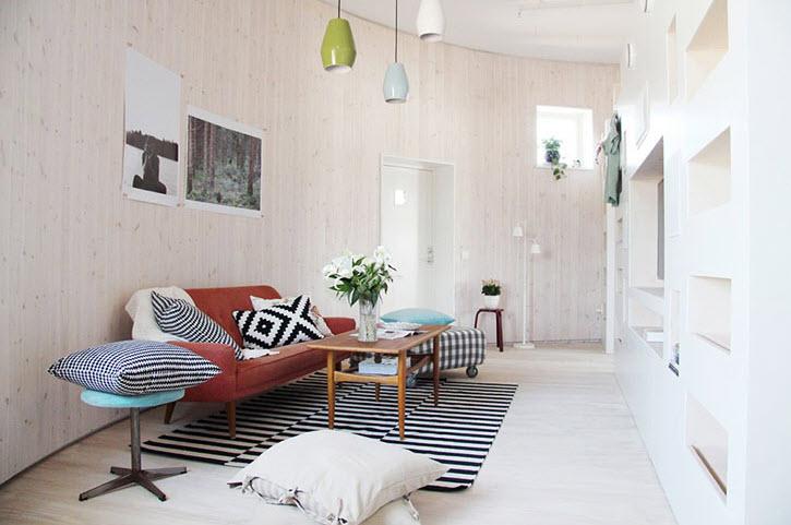 Diseño de sala circular de casa pasiva