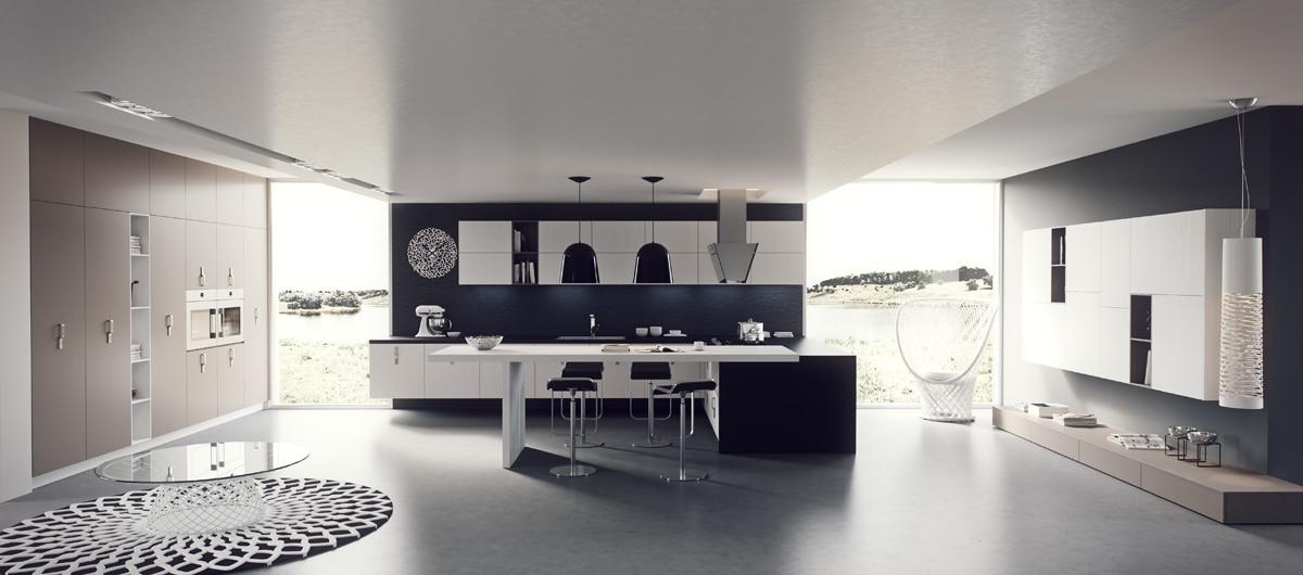 Dise o de cocinas modernas iluminaci n de interiores Diseno de cocinas grandes y modernas