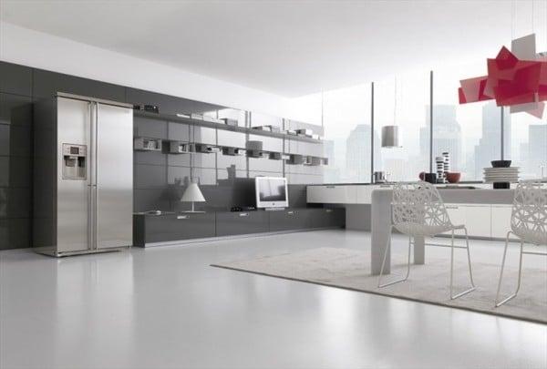diseo de cocina color gris y blanco brillante con lmpara roja