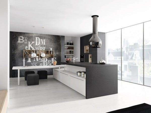 Diseño de cocina gris y blanco minimalista 1
