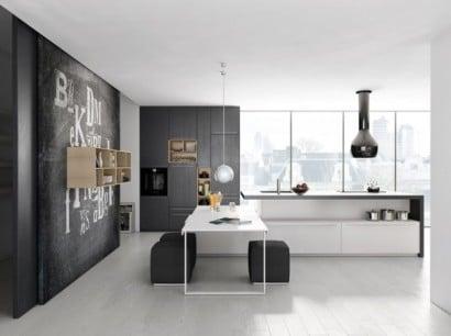 Diseño sencillo de cocina gris y blanco