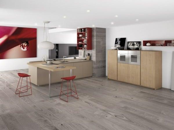 diseo de cocina minimalista color gris con rojo 1