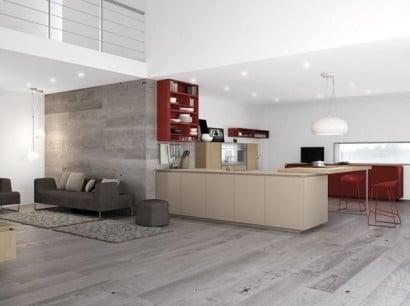 Diseño de cocina con contraste color gris con rojo