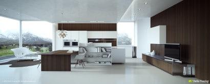 Diseño de moderna cocina cocina comedor bien iluminada