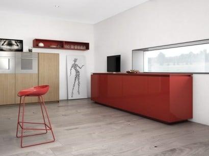 Diseño de mueble de cocina color rojo brillante
