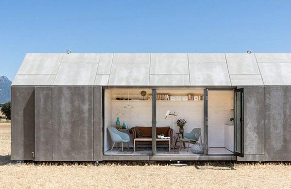 Peque a casa prefabricada de hormig n econ mica y for Casas modernas hormigon visto