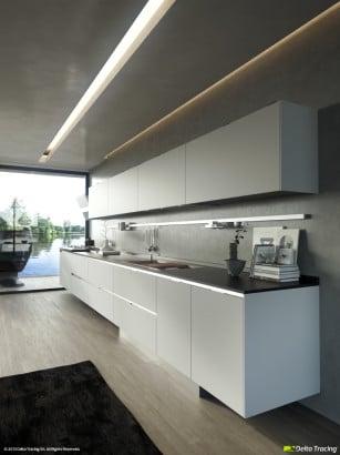 Falso techo de cocina iluminada
