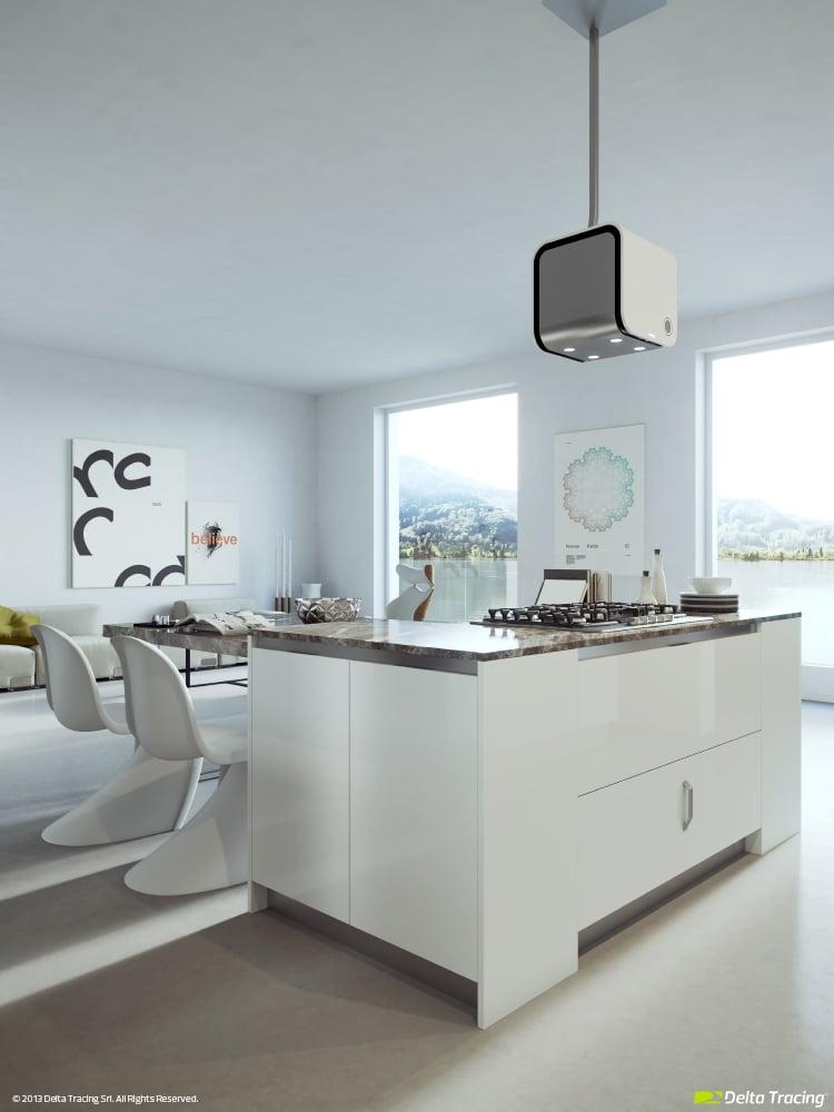 Iluminaci n de moderna cocina blanca construye hogar - Iluminacion para cocinas modernas ...