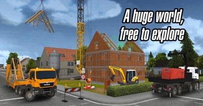 Juego de construcción de casas con maquinaria