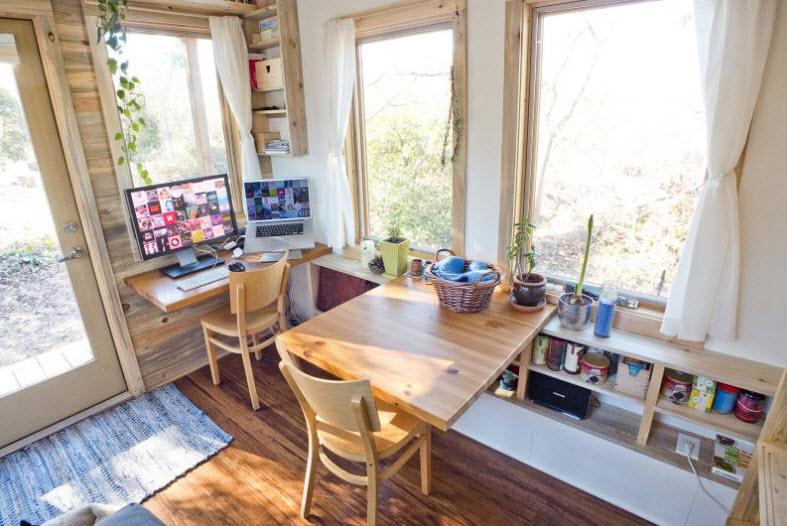 Dise o de peque a casa rodante de madera y dise o de interiores construye hogar - The mobile office working on two wheels ...