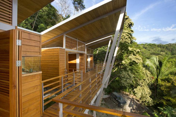vista del techo alto en casa de madera