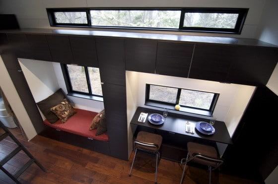 Detalle de comedor y sala en casas muy pequeñas