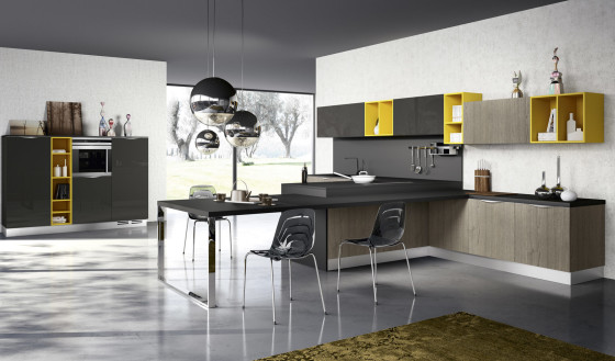Diseño de cocina contemporánea color amarillo y gris