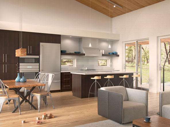 Dise o de casa moderna de un piso en forma de t for Pisos para cocina moderna
