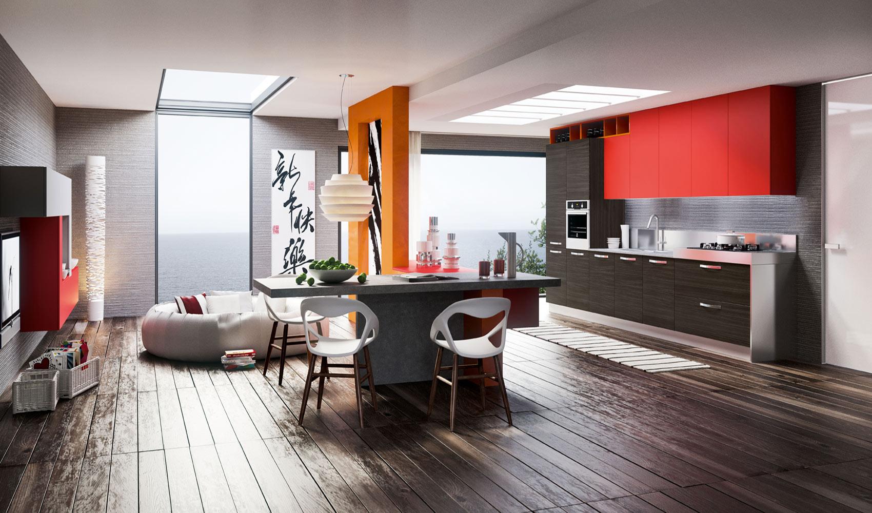Dise o de cocina moderna color rojo y gris construye hogar for Pisos para cocina moderna