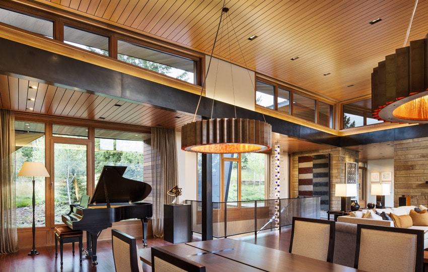 Dise o de moderna casa de campo en madera y piedra for Diseno de casas interior y exterior