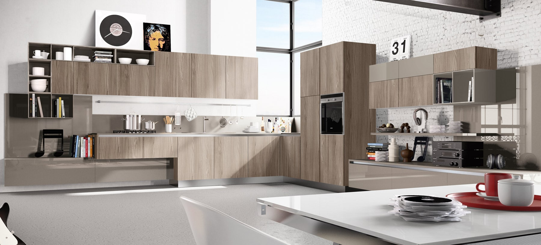de cocina de madera en color natural destaca la textura y color de  #977134 1800 816