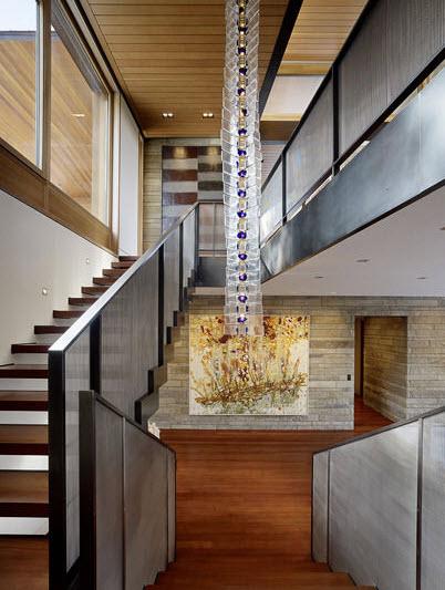 diseo de moderna escalera en casa de campo