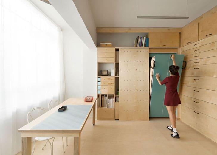 Dise o de mueble modular con cajones apartamento peque o for Diseno de libreros para espacios pequenos