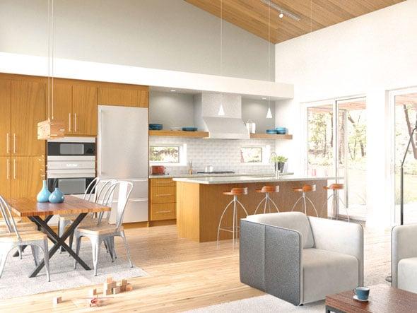 Dise o de casa moderna de un piso en forma de t for Pisos para sala comedor y cocina