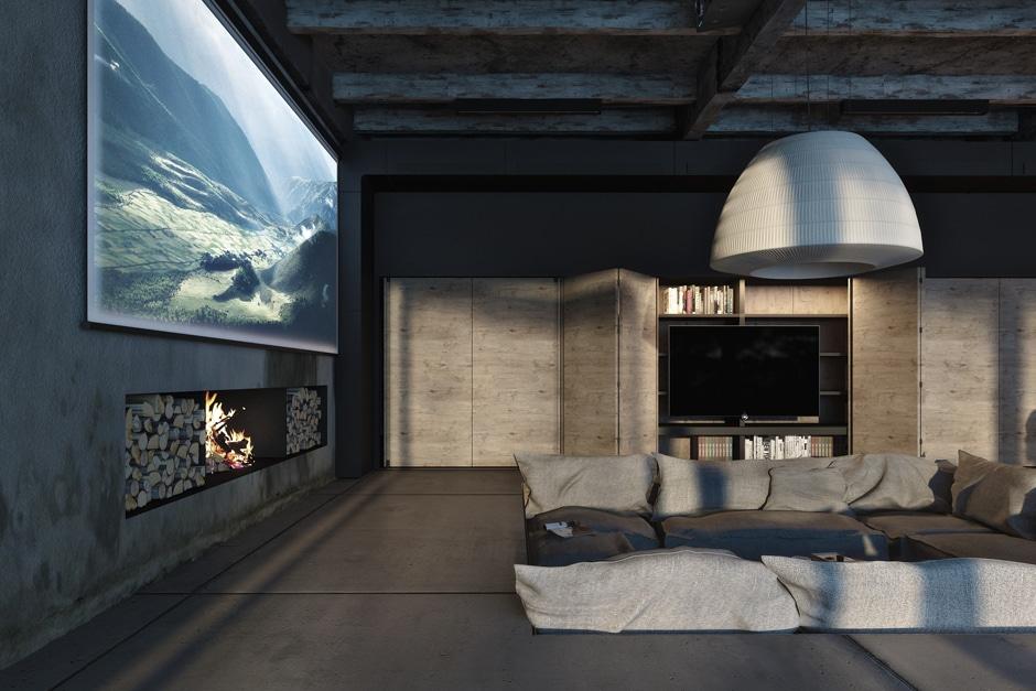 Dise o industrial de una casa decoraci n de interiores for Sala fun house