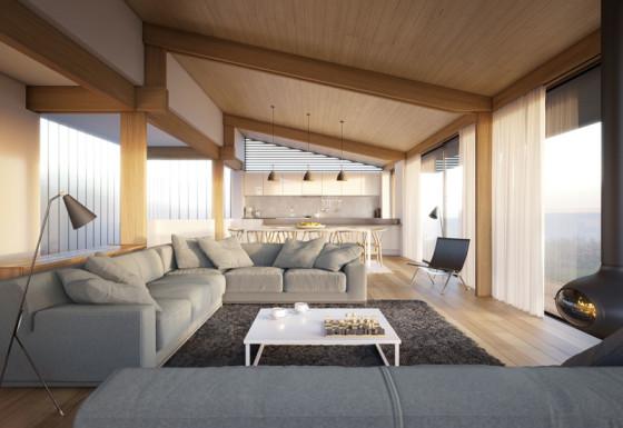 Diseño de sala moderna con techo inclinado de madera