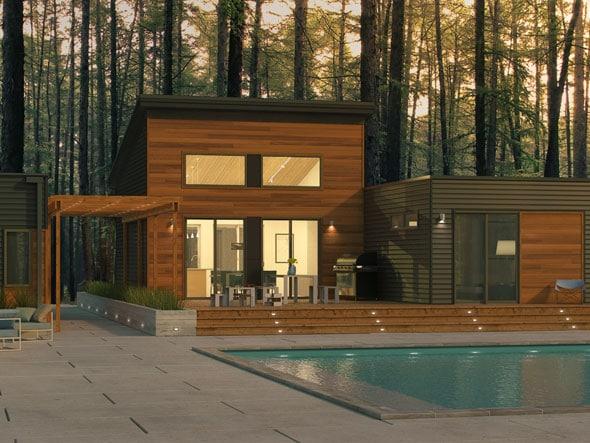 Dise o de casa moderna de un piso en forma de t for Casas modernas recorrido virtual