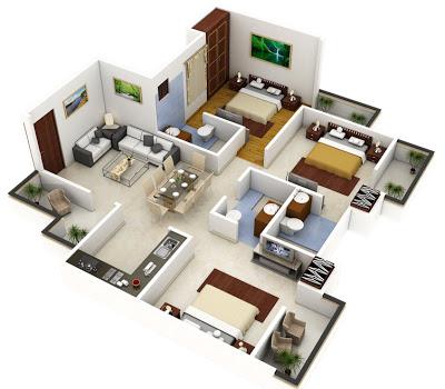 Plano 3d de casa o departamento cuadrado construye hogar for Distribucion departamentos modernos