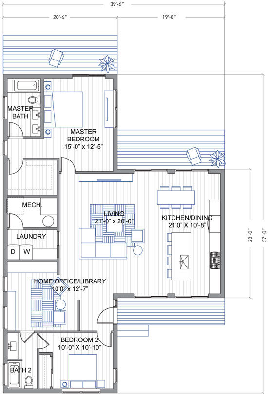 Dise o de casa moderna de un piso en forma de t - Fotos de casas en forma de l ...