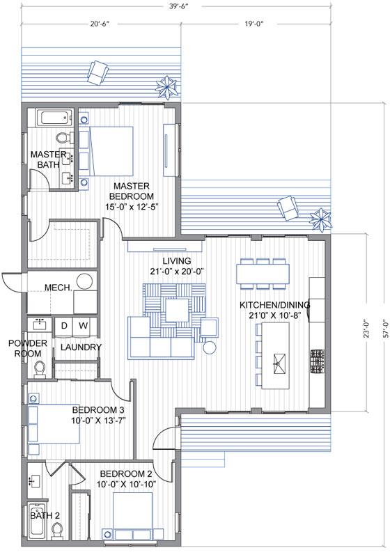 Dise o de casa moderna de un piso en forma de t - Hacer plano de mi casa ...
