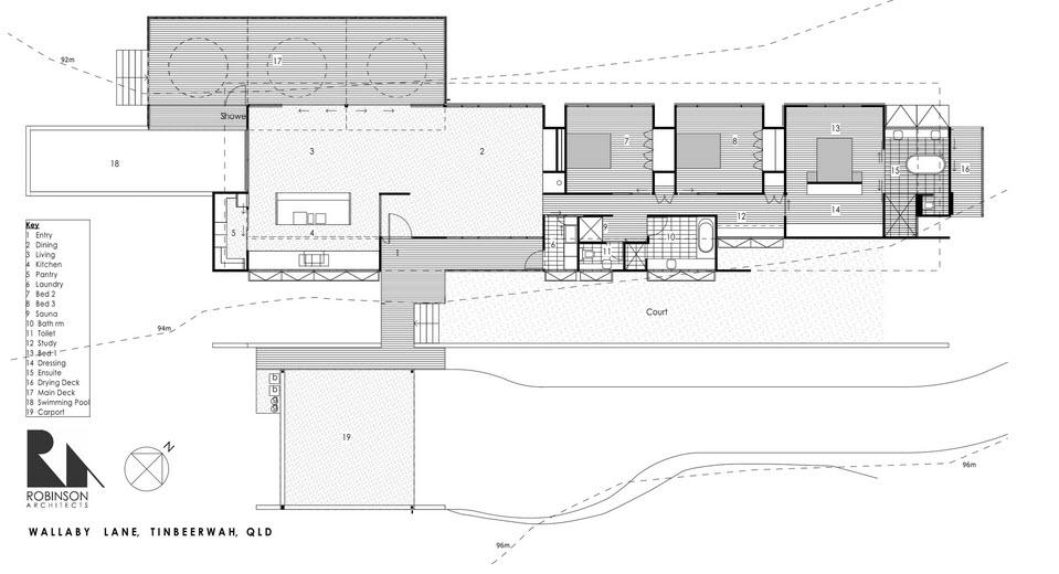 Dise o de casa moderna en terreno largo y angosto construye hogar - Distribucion bano alargado ...