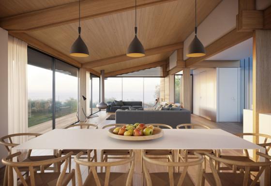 Sala moderna con paredes de madera