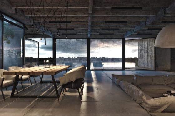 Vista de la sala comedor  con techo de barras de acero