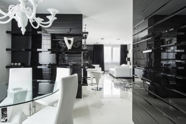 Dise o de moderno apartamento en color blanco y negro for Como e dining room em portugues