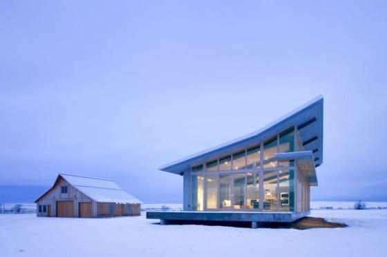 Diseño de casa pequeña cuando esta nevando