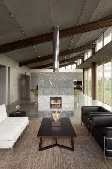 Diseño de chimenea de casa pequeña